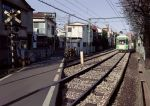 house power_lines railroad railroad_crossing railroad_tracks real_world_location realistic ritoru_(snow) street tokyo_(city) train tram tree