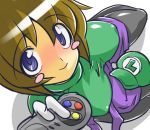 blush blush_stickers bob_cut breasts brown_hair chris_(mario) controller costume from_above game_controller genderswap hat impossible_clothes impossible_shirt large_breasts luigi nintendo pantyhose shirt short_hair sitting strap_slip super_famicom