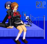 arisato_minato armband bed blue_eyes blue_hair blush bow brown_hair digital_media_player female_protagonist_(persona_3) headphones persona persona_3 persona_3_portable red_eyes ribbon school_uniform sitting smile taru_neko thanatos
