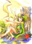 blue_eyes cape carbuncle closed_eyes dress feet final_fantasy final_fantasy_iv flower green_hair hair_ornament hirokazu jewelry nature open_mouth rydia sitting smile summoner traditional_media water watercolor watercolor_(medium) young