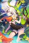 1girl arched_back black_dress blue_n dress flower green_eyes hair_between_eyes leaning_forward open_mouth partially_submerged petals scissors short_dress silver_hair small_breasts solo sparkle thigh_strap wading