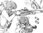 1girl aiming bow didloaded firing gloves gun hair_bow hair_tubes hakurei_reimu load_bearing_vest monochrome operator reloading scope short_hair shotgun shotgun_shells sleeveless tagme touhou weapon