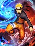 1boy blonde_hair blue_eyes facial_mark forehead_protector full_body genzoman konohagakure_symbol looking_at_viewer male_focus naruto rasengan signature solo toeless_boots uzumaki_naruto
