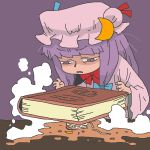 1girl book crescent crushed hat long_hair onikobe_rin patchouli_knowledge purple_hair ramen ribbon solo touhou violet_eyes you're_doing_it_wrong