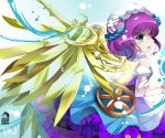 1girl blue_eyes blush dress hair_ornament mechanical_wings open_mouth purple_hair puzzle_&_dragons short_hair sideways_mouth siukaukau24 skuld_(p&d) solo wings