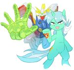 1girl aqua_hair crossover cutie_mark g_gundam gundam harp instrument king_of_hearts lyra_(my_little_pony) mecha multicolored_hair my_little_pony my_little_pony_friendship_is_magic pony shining_gundam tail two-tone_hair unicorn white_hair xin_yu_hua_yin