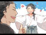 2boys black_hair blush closed_eyes crossover getiao hakama japanese_clothes jin_(manga) kimono letterboxed long_hair male_focus multiple_boys mutsu-no-kami_yoshiyuki open_mouth sakamoto_ryouma_(jin) short_hair thumbs_up touken_ranbu