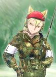 1girl animal_ears beret camouflage didloaded german_flag gloves hat headphones load_bearing_vest looking_at_viewer military military_hat military_uniform operator original red_hat short_hair solo tagme uniform walkie-talkie yellow_eyes