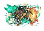 1girl animal_ears barefoot bastet_(p&d) black_hair braid cat_ears cat_tail dark_skin fang green_eyes hair_ornament headdress official_art open_mouth puzzle_&_dragons solo star tail twin_braids