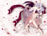 1girl bat_wings bow feet highres lying red_eyes remilia_scarlet ribbon small_breasts solo touhou wings wrist_cuffs