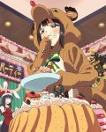 2girls animal_costume animal_ears bell bow brown_eyes brown_hair cake christmas christmas_garland christmas_tree crossed_arms dutch_angle eating food food_on_face from_below hat katayama_minami long_hair multiple_girls nanase_yoshino official_art purple_hair rabbit_ears reindeer_costume santa_hat solo_focus sweatdrop tears wake_up_girls! wake_up_girls!_stage_no_tenshi