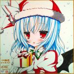 1girl bat_wings blue_hair blush box capelet colored_pencil_(medium) dated fang gift gift_box gloves hat ichikawa_tsurugi marker_(medium) pastel_(medium) red_eyes remilia_scarlet ribbon santa_hat shikishi short_hair signature snow solo touhou traditional_media white_gloves wings