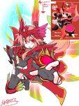 1girl armor before_and_after female genderswap highres kamen_rider kamen_rider_ooo kamen_rider_ooo_(series) pink_hair red_eyes rider-tan rider_belt sketch solo tenjou_nanaki wings