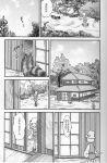comic doujinshi futatsuiwa_mamizou_(tanuki) hat highres house leaf leaf_on_head monochrome moriya_suwako sakana_(ryuusui-tei) scan sliding_doors touhou translation_request yotsubato!