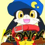 animal_ears collar gloves happy kaze_no_klonoa klonoa name_tag pac-man shoes teeth text yellow_eyes yellow_gloves