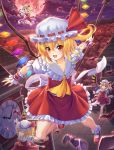 1girl ankle_socks ascot bat blonde_hair clock clock_tower closed_eyes clouds fang fingernails flandre_scarlet flying folded_leg forest four_of_a_kind_(touhou) frilled_skirt frills full_moon hat hat_ribbon highres kurozen laevatein lake looking_at_viewer mary_janes mob_cap moon mountain nail_polish nature night open_mouth outdoors outstretched_arm outstretched_arms red_eyes red_moon ribbon roman_numerals scarlet_devil_mansion sharp_fingernails shoes short_hair short_sleeves side_ponytail skirt skirt_set smile solo spread_arms touhou tower wings wrist_cuffs