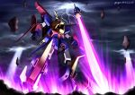 artist_name claws clouds cloudy_sky dated fangs floating_rocks glowing gundam gundam_build_fighters gundam_build_fighters_try gundam_tryon_3 light_rays lightning mecha no_humans planted_sword planted_weapon shield sky solo sword weapon yoyo_(seawayseed)