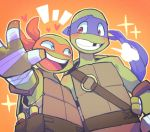 2boys bandages blue_eyes blush brothers donatello face_mask green_skin hono1212 mask michelangelo multiple_boys nunchaku red_eyes siblings teenage_mutant_ninja_turtles weapon