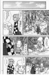 2girls bell book comic doujinshi hair_bell hair_ornament hakama hat highres japanese_clothes monochrome moriya_suwako motoori_kosuzu multiple_girls sakana_(ryuusui-tei) scan sweatdrop touhou translation_request twintails yotsubato!