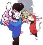 alien black_hair cosplay dandy_(space_dandy) eun_dari grin meow_(space_dandy) pointing pointing_at_viewer pompadour qt_(space_dandy) robot sideburns smile space_dandy star_trek uniform