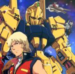 1boy argama blonde_hair blue_eyes gundam gundam_mk_ii quattro_vageena short_hair sleeveless sunglasses sunglasses_removed yuya zeta_gundam