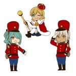 3boys aqua_hair blonde_hair crown gloves gouenji_shuuya green_eyes hair_over_one_eye hat highres inazuma_eleven inazuma_eleven_(series) kazemaru_ichirouta looking_at_viewer male_focus military military_uniform miyasaka_ryou multiple_boys one_eye_closed open_mouth ponytail scepter shako_cap short_hair simple_background smile tan thigh-highs tomo_(sjim) uniform white_background white_gloves white_legwear