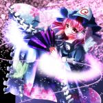 1girl arm_ribbon black_background cherry_blossoms commentary_request fan fingernails floral_print folding_fan frilled_kimono frills glowing_butterfly hand_on_headphones headphones highres hitodama japanese_clothes kimono looking_at_viewer mob_cap nail_art no_eru petals pink_eyes pink_hair ribbon ribbon-trimmed_collar ribbon_trim saigyouji_yuyuko shiny shiny_hair smile solo touhou triangular_headpiece veil