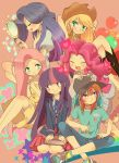 applejack boots commentary_request cowboy_hat dress fluttershy green_eyes hand_mirror hat highres mirror multicolored_hair my_little_pony my_little_pony_friendship_is_magic open_mouth personification pink_hair pinkie_pie purple_hair rainbow_dash rarity twilight_sparkle violet_eyes