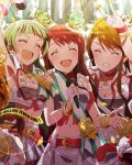5girls artist_request beamed_quavers belt card_(medium) closed_eyes collar crown fingerless_gloves gloves heart idolmaster idolmaster_million_live! jewelry jpeg_artifacts microphone midriff multiple_girls navel necklace official_art open_mouth shimabara_elena skirt source_request star tanaka_kotoha tokoro_megumi unmoving_pattern v
