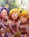 3girls artist_request baba_konomi beamed_quavers card_(medium) closed_eyes crown idolmaster idolmaster_million_live! jewelry jpeg_artifacts microphone miura_azusa momose_rio multiple_girls necklace official_art open_mouth source_request