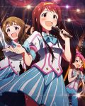 3girls artist_request beamed_quavers blush brown_eyes brown_hair card_(medium) heart idolmaster idolmaster_million_live! jpeg_artifacts long_hair maihama_ayumu microphone miyao_miya multiple_girls musical_note official_art open_mouth pink_hair signature skirt solo_focus source_request tanaka_kotoha