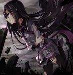 1girl akemi_homura black_hair black_legwear blood blood_on_face blood_on_fingers bow clenched_teeth clouds cloudy_sky cuts debris dystopia frilled_skirt frills hair_over_face hairband highres holding_arm injury leaning_forward long_hair long_sleeves looking_to_the_side mahou_shoujo_madoka_magica nikkunemu pantyhose purple_bow scowl skirt sky solo standing torn_clothes torn_pantyhose very_long_hair violet_eyes