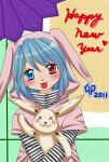 blue_eyes blue_hair blush casual commentary_request happy_new_year heterochromia highres hooded_jacket hug nengajou new_year stuffed_animal stuffed_bunny stuffed_toy tatara_kogasa tongue tongue_out touhou translated umbrella yuzuna99