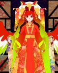 bow facing_viewer floral_print hair_ornament hair_ribbon ho-oh japanese_clothes jiyu kimono personification pokemon red_eyes redhead ribbon wings yukata