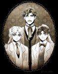 3boys black_hair bowtie dio_brando facial_hair father_and_son formal george_joestar holiday-jin jojo_no_kimyou_na_bouken jonathan_joestar monochrome multiple_boys mustache picture_frame suit sweater_vest younger