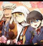 3boys blonde_hair blue_eyes brown_hair collared_shirt double-breasted green_eyes horikawa_kunihiro letterboxed male_focus military military_uniform mizuhara_aki multiple_boys necktie open_mouth short_hair touken_ranbu uniform yamabushi_kunihiro yamanbagiri_kunihiro