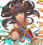 1girl animal_ears bare_shoulders barefoot bastet_(p&d) black_hair braid cat_ears dark_skin fang fire foreshortening green_eyes jewelry jyon long_hair puzzle_&_dragons solo squatting