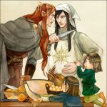 4boys apron arm_grab bandana black_hair child cloak cooking egg elrond elros eye_contact food food_on_clothes food_on_head knife lomacchi long_hair looking_at_another lord_of_the_rings maedhros maglor male_focus multiple_boys object_on_head orange_hair pointy_ears silmarillion younger