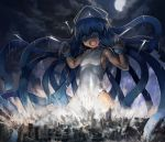 1girl airplane blue_eyes blue_hair city clouds cloudy_sky destruction giantess hat ikamusume long_hair moon open_mouth shinryaku!_ikamusume sky solo squid_hat tentacle_hair tentacles yilx