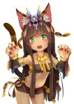 1girl 3.14 animal_ears bastet_(p&d) black_hair braid cat_ears cat_tail dark_skin green_eyes highres long_hair midriff nail_polish navel puzzle_&_dragons solo tail tubetop