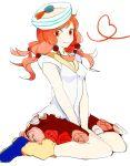 1girl hat hirose_yasuho jojo_no_kimyou_na_bouken jojolion pink_hair sailor_hat simple_background sitting solo xxxceller