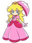 blonde_hair blue_eyes blush dress long_hair princess princess_peach smile super_mario_bros