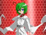 1girl antennae belt blue_eyes cape crossover green_hair henshin henshin_pose kamen_rider kamen_rider_kabuto_(series) parody shirt solo touhou white_pants white_shirt wriggle_nightbug