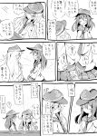 2girls ^_^ akatsuki_(kantai_collection) anchor_symbol beize_(garbage) closed_eyes comic flat_cap hair_between_eyes hat hibiki_(kantai_collection) highres kantai_collection long_hair long_sleeves monochrome multiple_girls neckerchief pleated_skirt school_uniform serafuku skirt smile sweatdrop translation_request