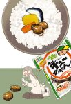 1girl bag cardigan carrot charm_(object) chopsticks eating kasuzuke kawanabe obentou open_mouth original pickle rice rice_bowl school_bag school_uniform serafuku solo takuan