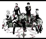 4boys 4girls absurdres couch dress flower formal ginoza_nobuchika glasses highres hinakawa_shou karanomori_shion kunizuka_yayoi long_hair monochrome multiple_boys multiple_girls psycho-pass rera_(12169432) ribbon saiga_jouji scarf shimotsuki_mika short_hair spot_color suit tougane_sakuya tsunemori_akane weighing_scale