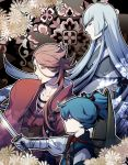 3boys blue_hair chin_strap closed_eyes collarbone hat japanese_clothes katana kousetsu_samonji long_hair male_focus mizuhara_aki multiple_boys pink_hair profile sayo_samonji souza_samonji sword touken_ranbu very_long_hair weapon