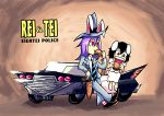 animal_ears black_hair brown_eyes car cosplay dress eating food formal gun hamburger hat holster inaba_tewi long_hair motor_vehicle multiple_girls necktie purple_hair rabbit_ears red_eyes reisen_udongein_inaba sam_(sam_and_max) sam_(sam_and_max)_(cosplay) sam_and_max setz short_hair suit touhou vehicle weapon