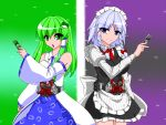 2girls belt black_dress braid crossover dress gaia_memory green_hair hair_ornament hairclip henshin henshin_pose izayoi_sakuya japanese_clothes kamen_rider kamen_rider_double kamen_rider_w kochiya_sanae maid maid_headdress miko multiple_girls parody touhou tsukushi_(741789) white_hair