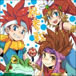4boys armband artist_request blue_eyes brown_eyes brown_hair character_request chrono_trigger commentary_request crono crossover frog green_eyes grin hat headband kaeru_(chrono_trigger) looking_at_viewer lowres multiple_boys open_mouth parted_lips redhead seiken_densetsu seiken_densetsu_2 smile spiky_hair staff tagme translation_request yellow_eyes